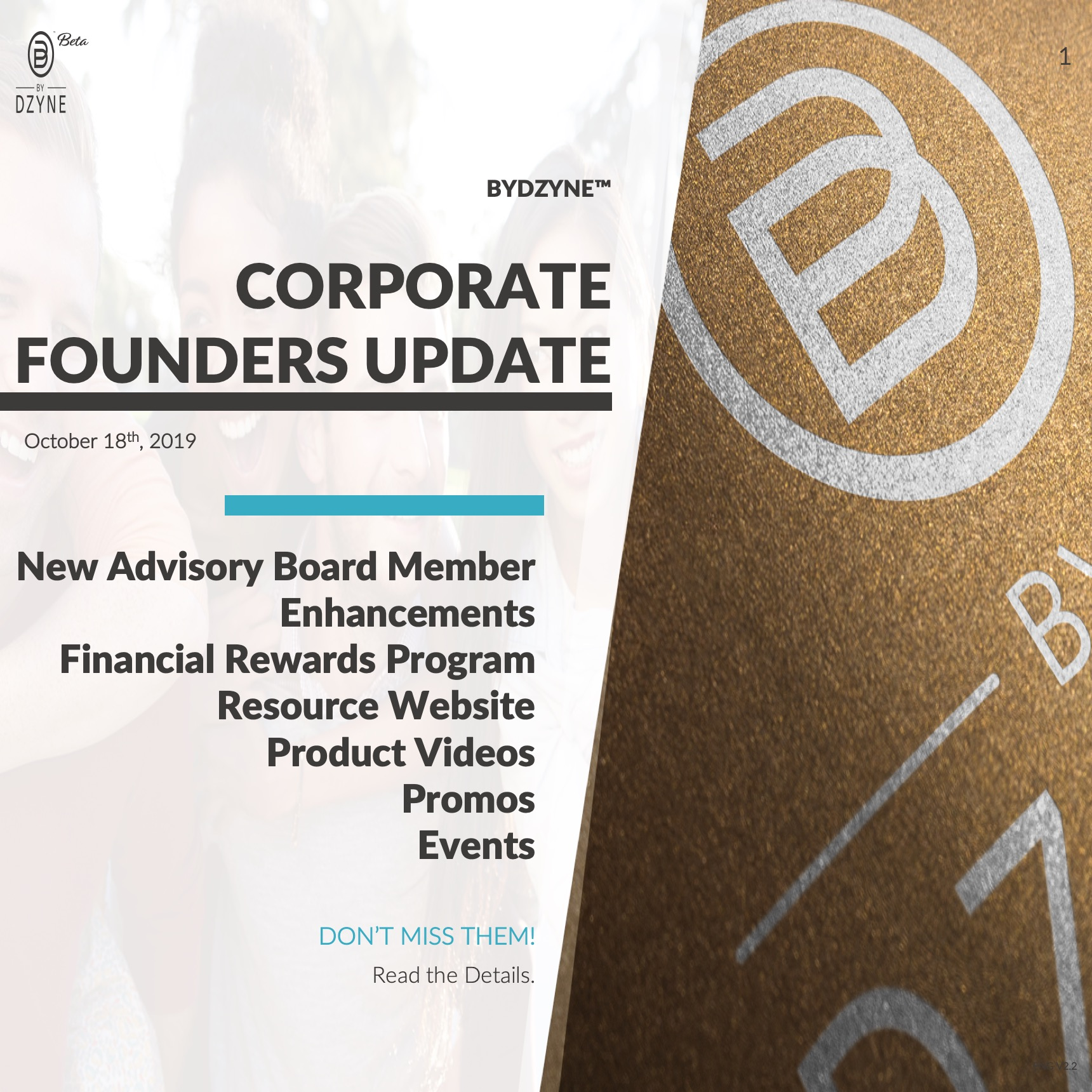 RECAP: Corporate Founders Call Update – October 18, 2019