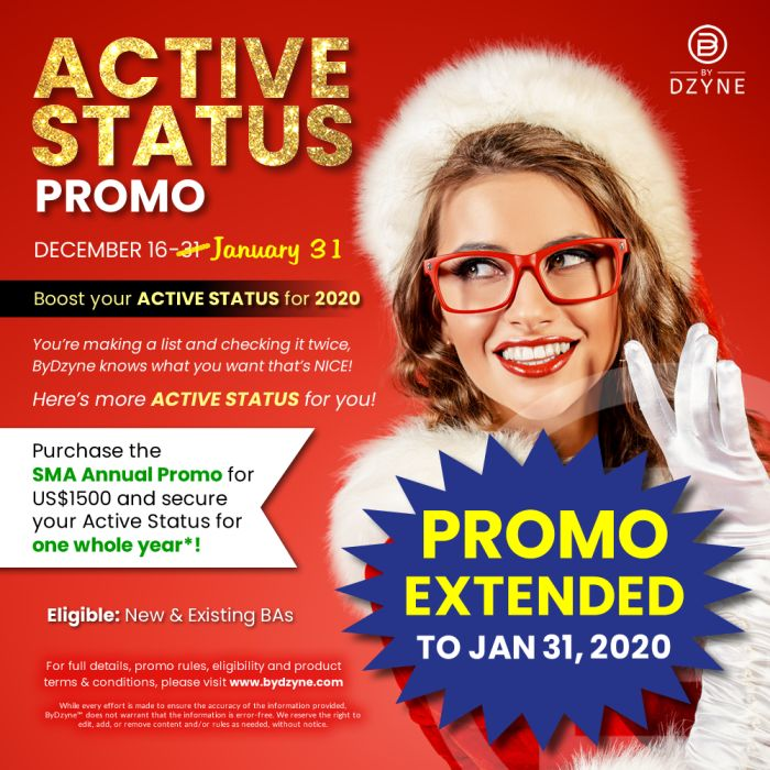 Active Status Promo EXTENDED (Jan. 16 – 31, 2020)