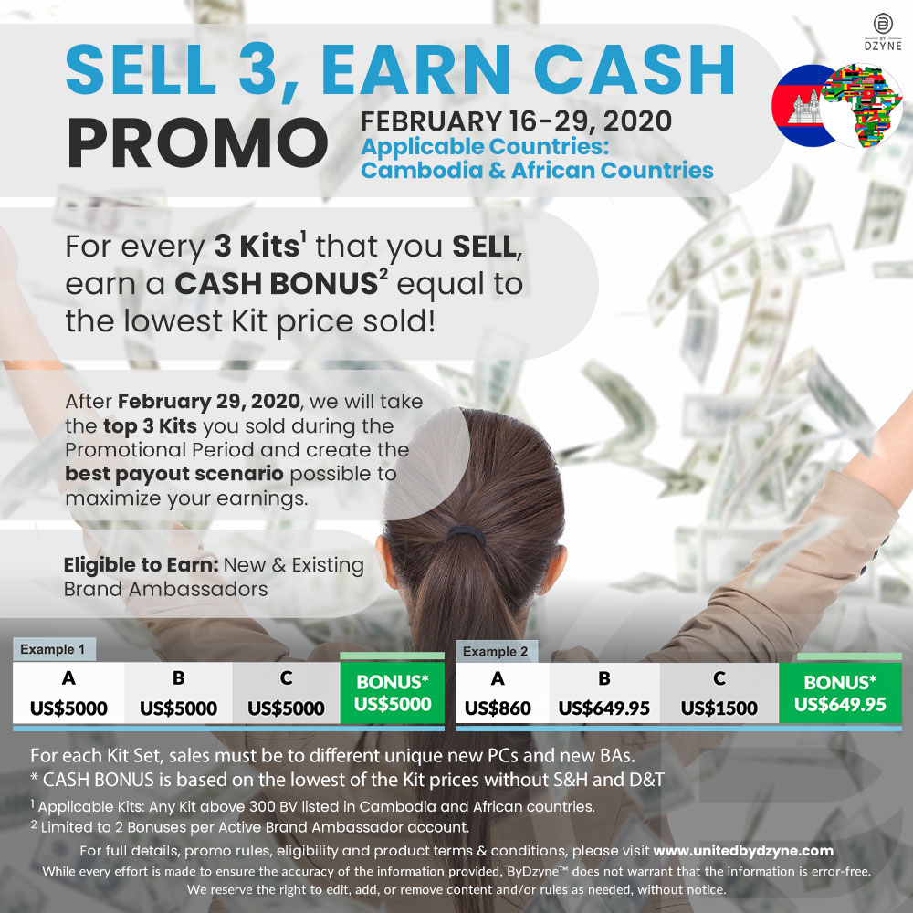 CAMBODIA & AFRICA Sell 3 Earn Cash Promo (Feb. 16-29, 2020)