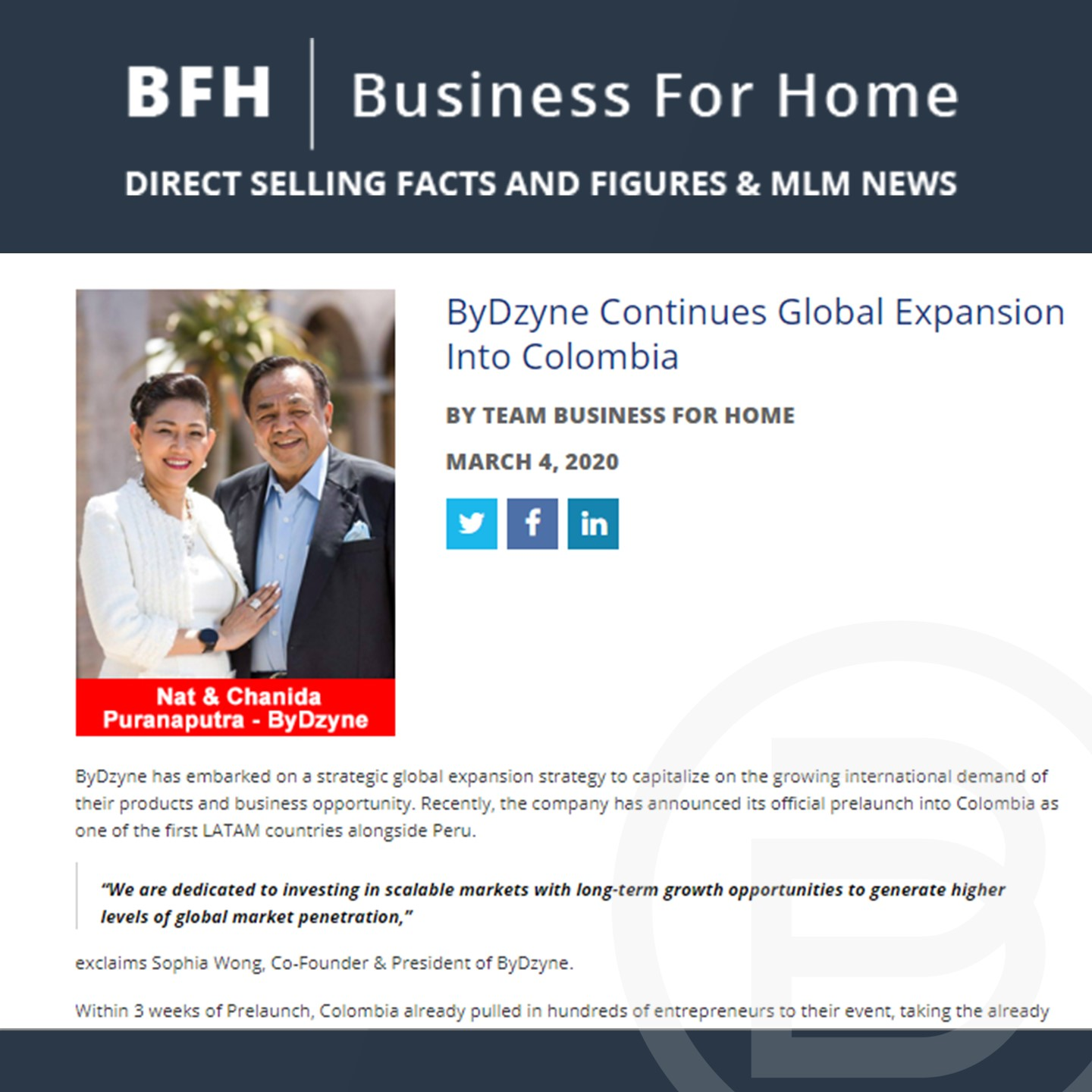BFH: ByDzyne Continues Global Expansion Into Colombia