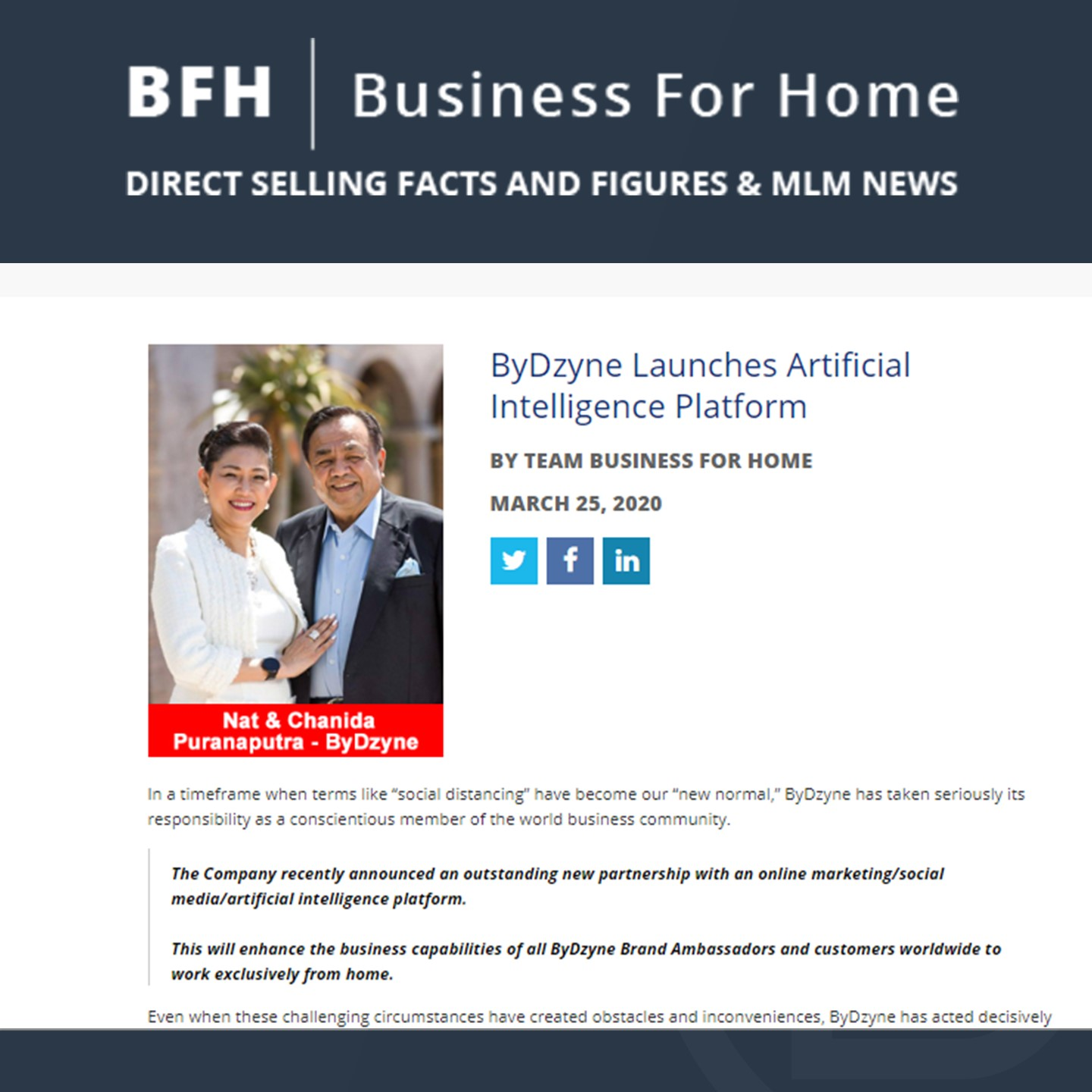 BFH: ByDzyne Launches Artificial Intelligence Platform